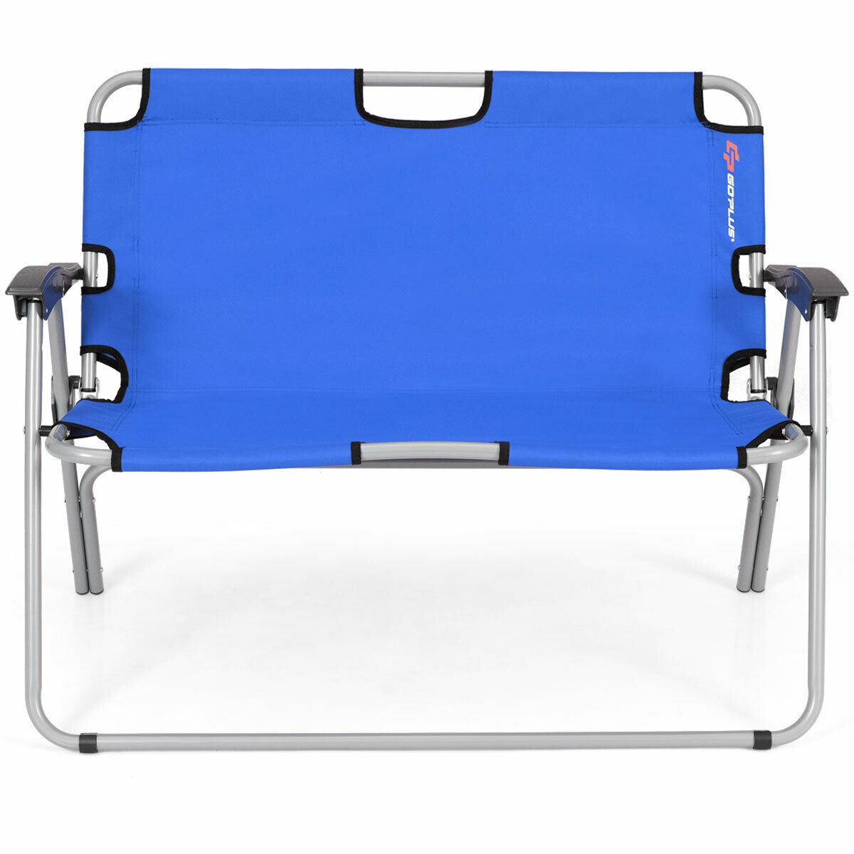 2 Person Folding Camping Bench Portable Double Chair-Blue