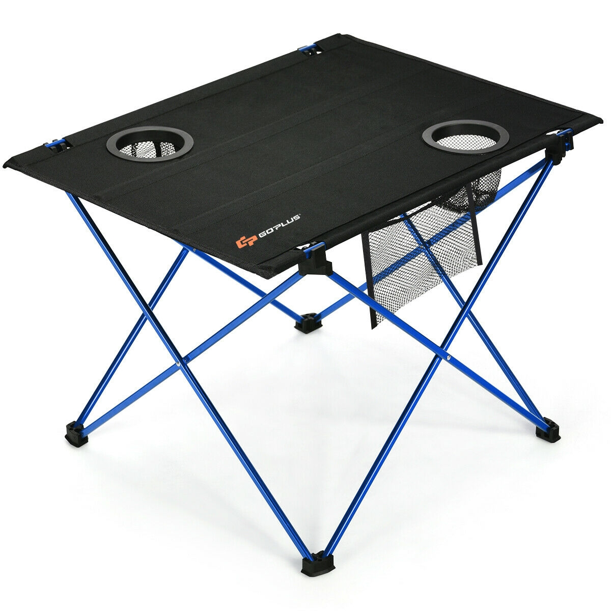 Foldable Camping Picnic Table with Cup Holders-Blue