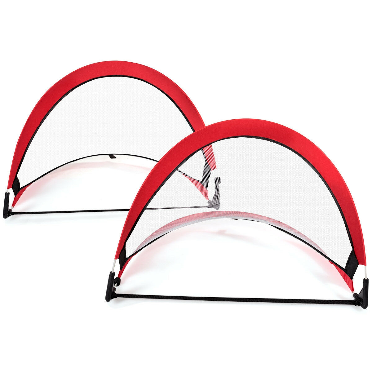 Two Pop Up Soccer Goal Set  Foldable Training Football Net-4'  free shipping worldwide