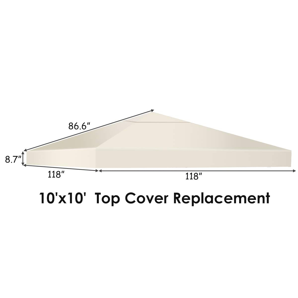 10' x 10' 1-Tier or 2-Tier 3 Colors Patio Canopy Top Replacement Cover