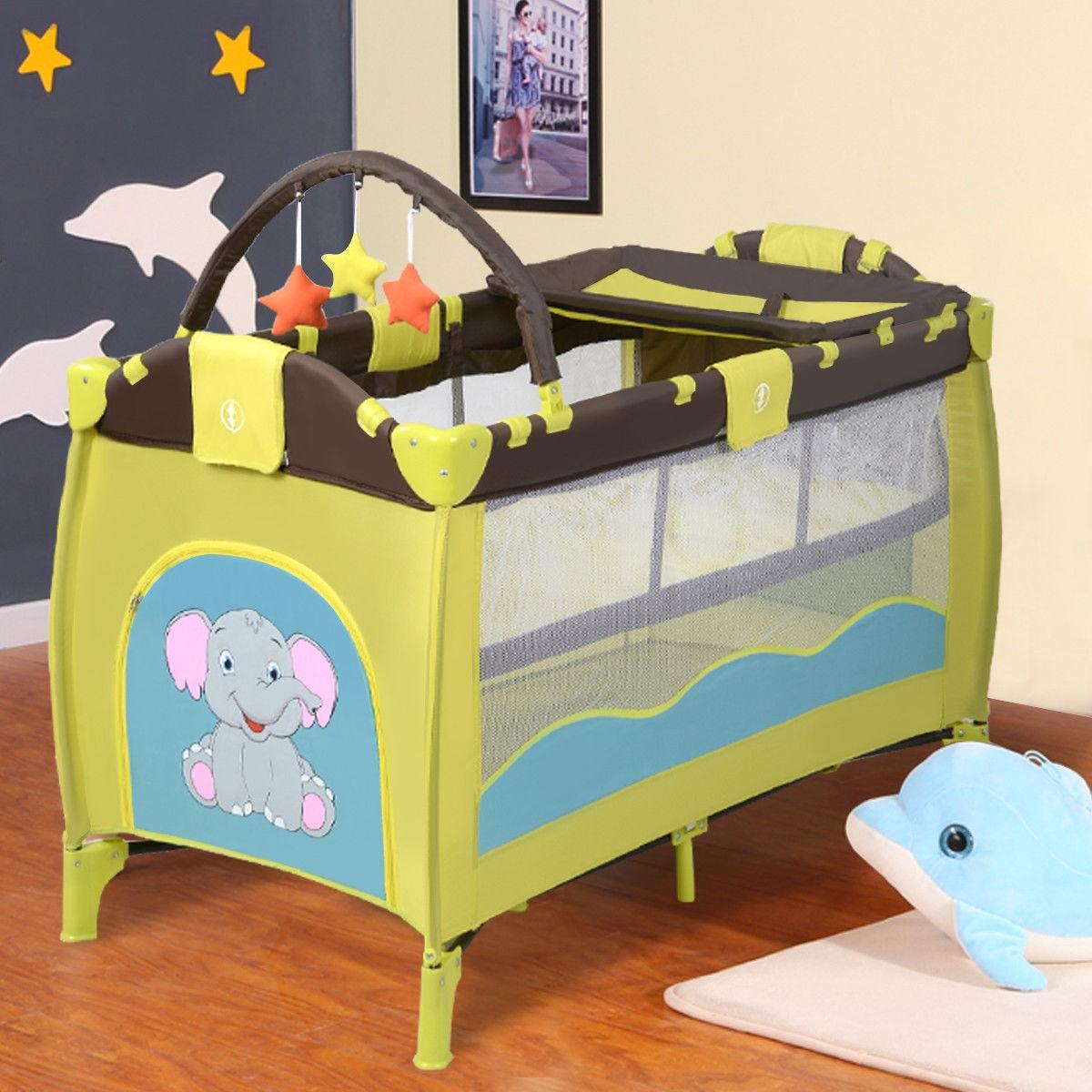 Portable Baby Crib Playpen Playard Pack Travel Infant Bassinet Bed Blue