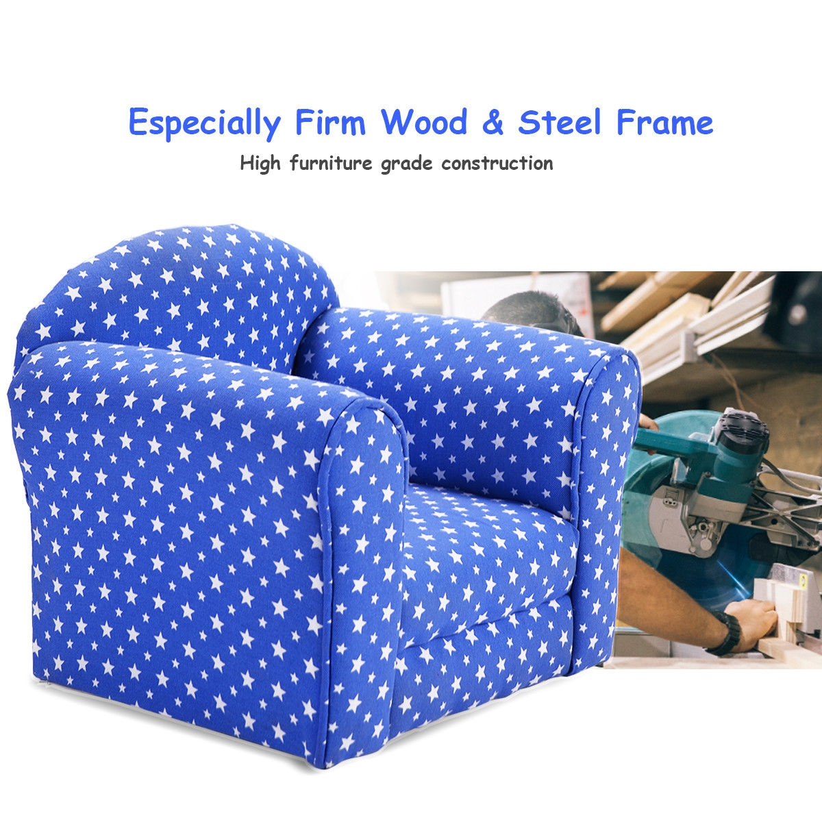 Heart-shaped Printed Armrest Children Couch 2 Colors-Blue
