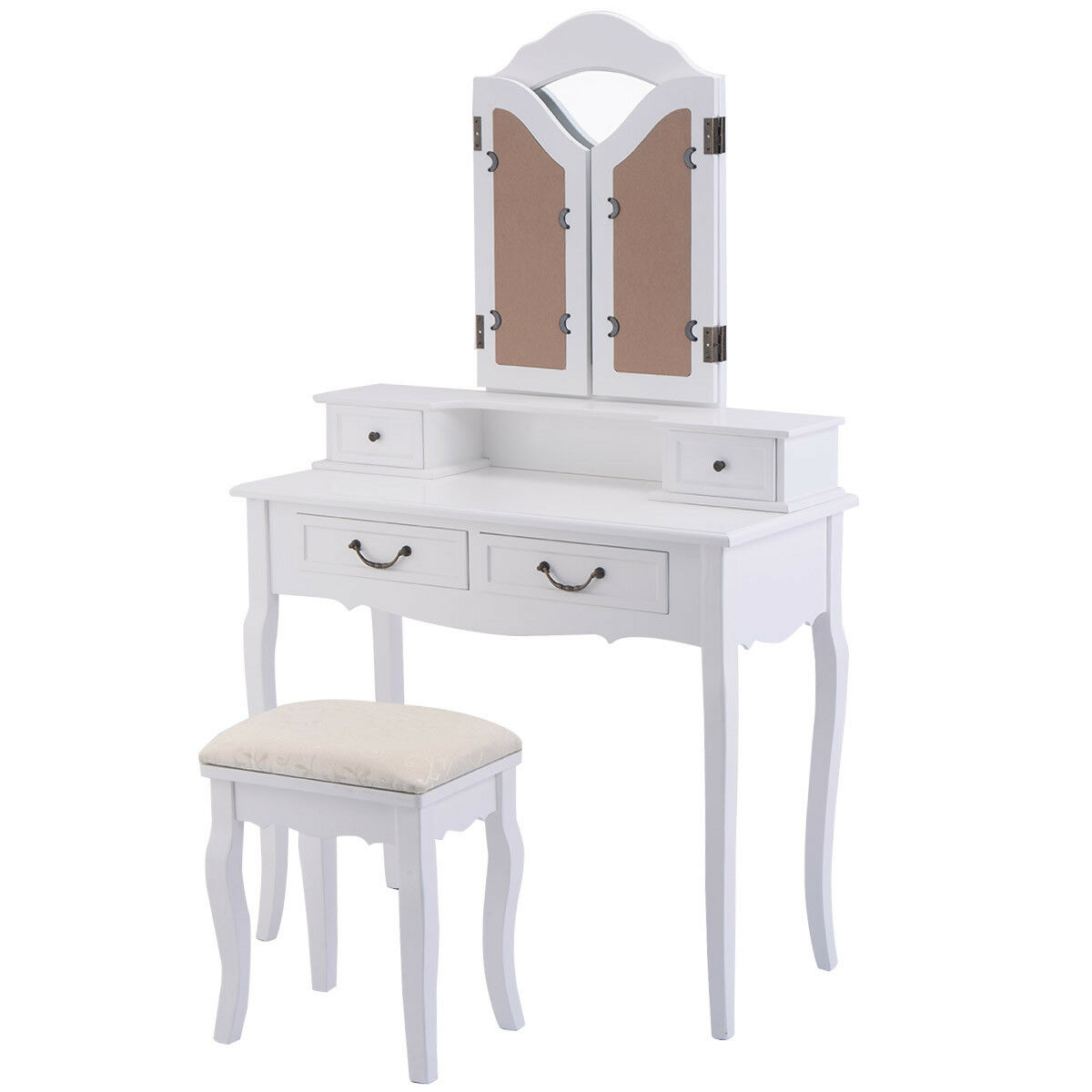 Black / White Vanity Makeup Dressing Table with Tri Folding Mirror + 4 Drawers