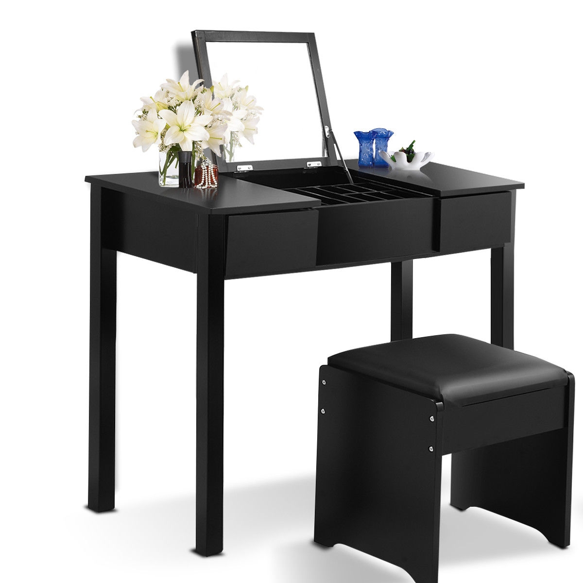 Black / White Vanity Makeup Dressing Table Set with Cell Storage Box