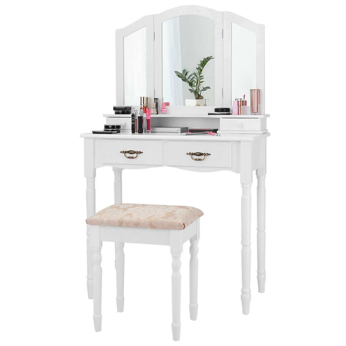 Black / White Vanity Makeup Dressing Table with Tri Folding Mirror