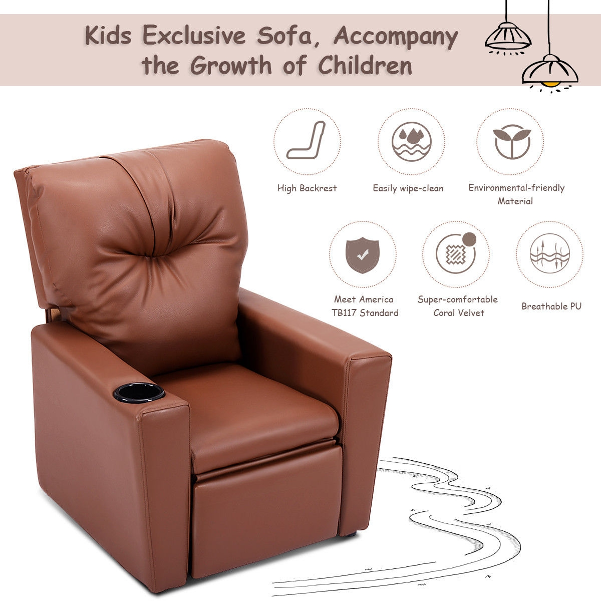 Ergonomic Lounge Kids Sofa with Cup Holder-Brown