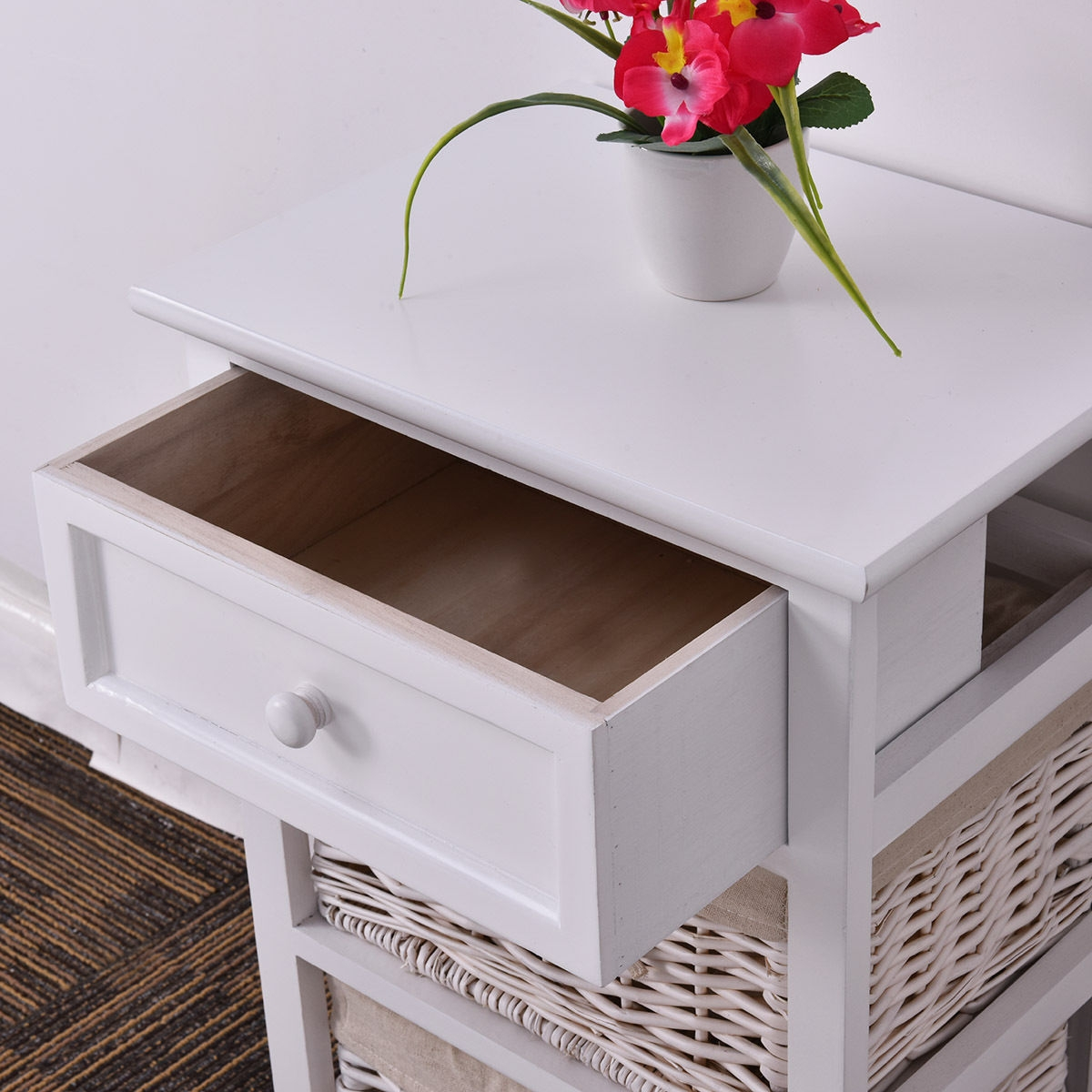 Black/White 3 Tiers 1 Drawer Night Stand