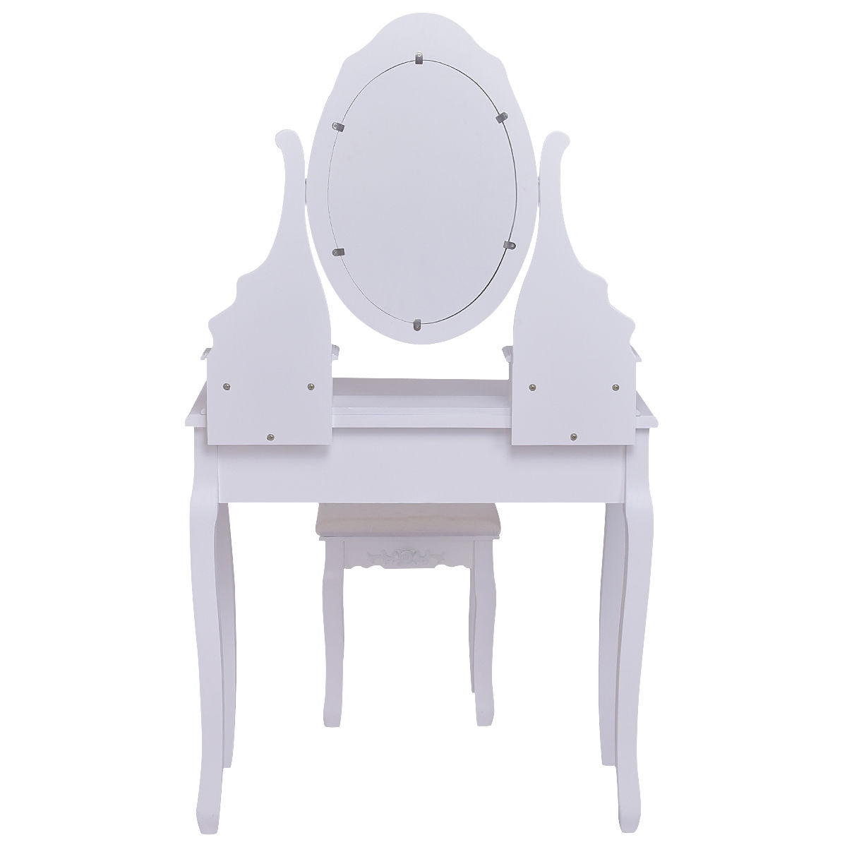 Mirrored Jewelry Wooden Vanity Table Set w/ 5 Drawers