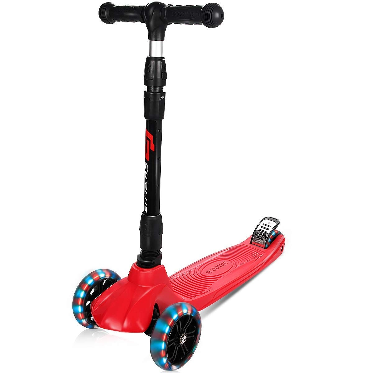 Folding Adjustable Height 3 LED Wheels Kids Kick Scooter