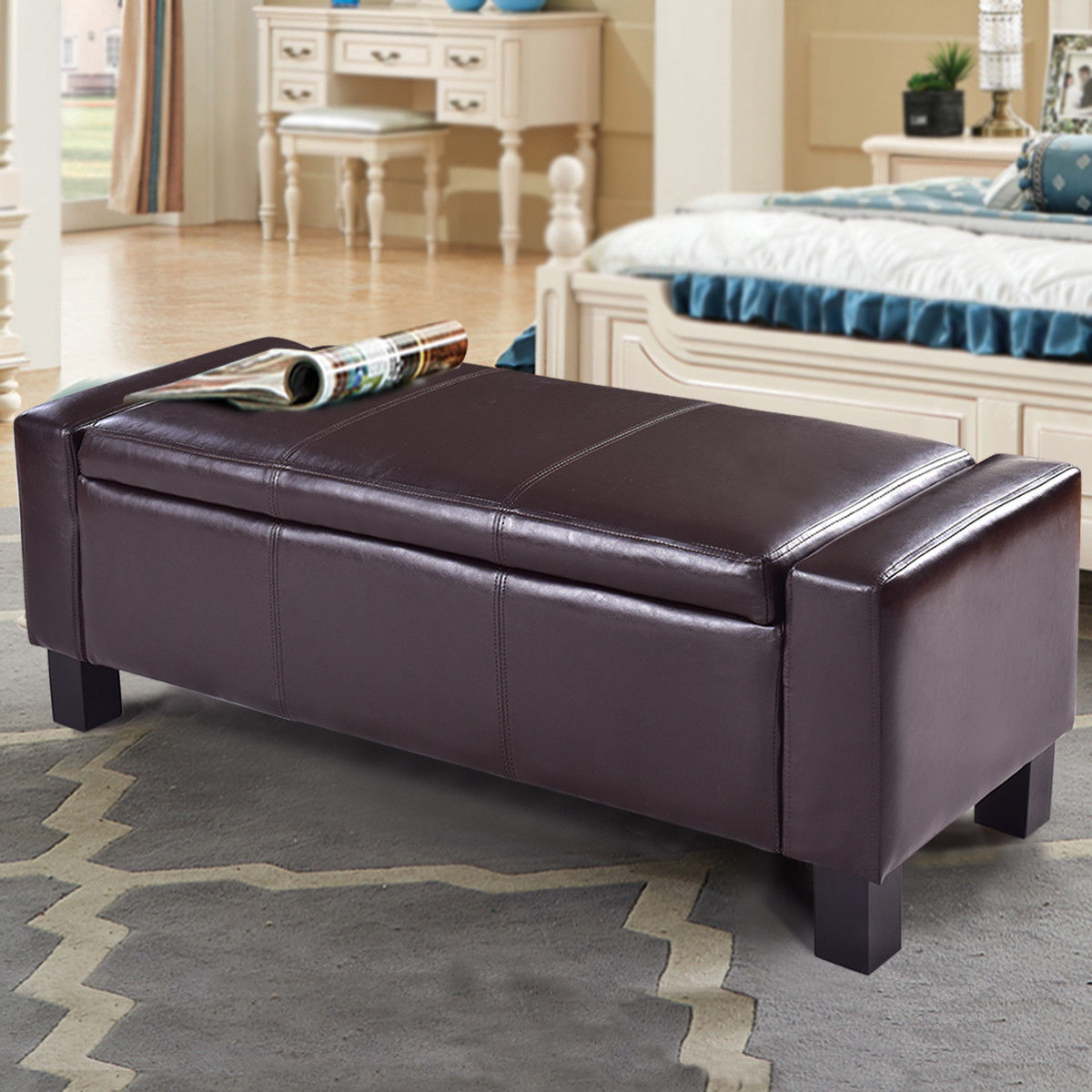 PU Leather Storage Chest Footstool Ottoman-Brown