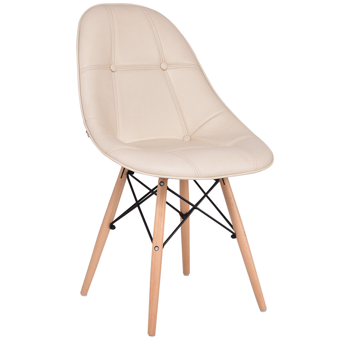 Set of 2 Armless PU Leather Dining Chairs w/ Wood Legs-Beige
