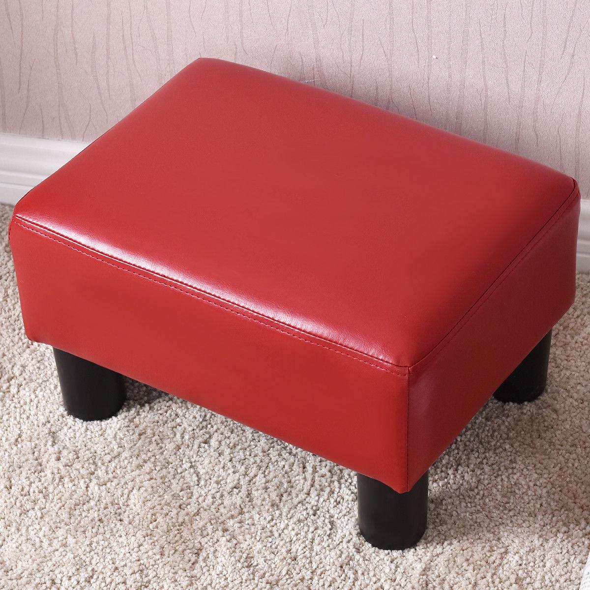 Small PU Leather Rectangular Seat Ottoman Footstool