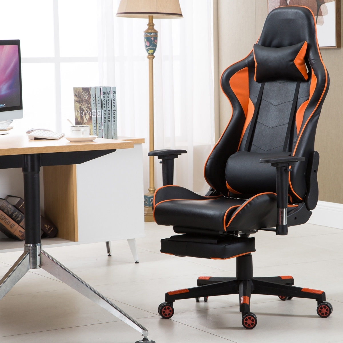 High Back Racing Recliner Gaming Chair with Footrest