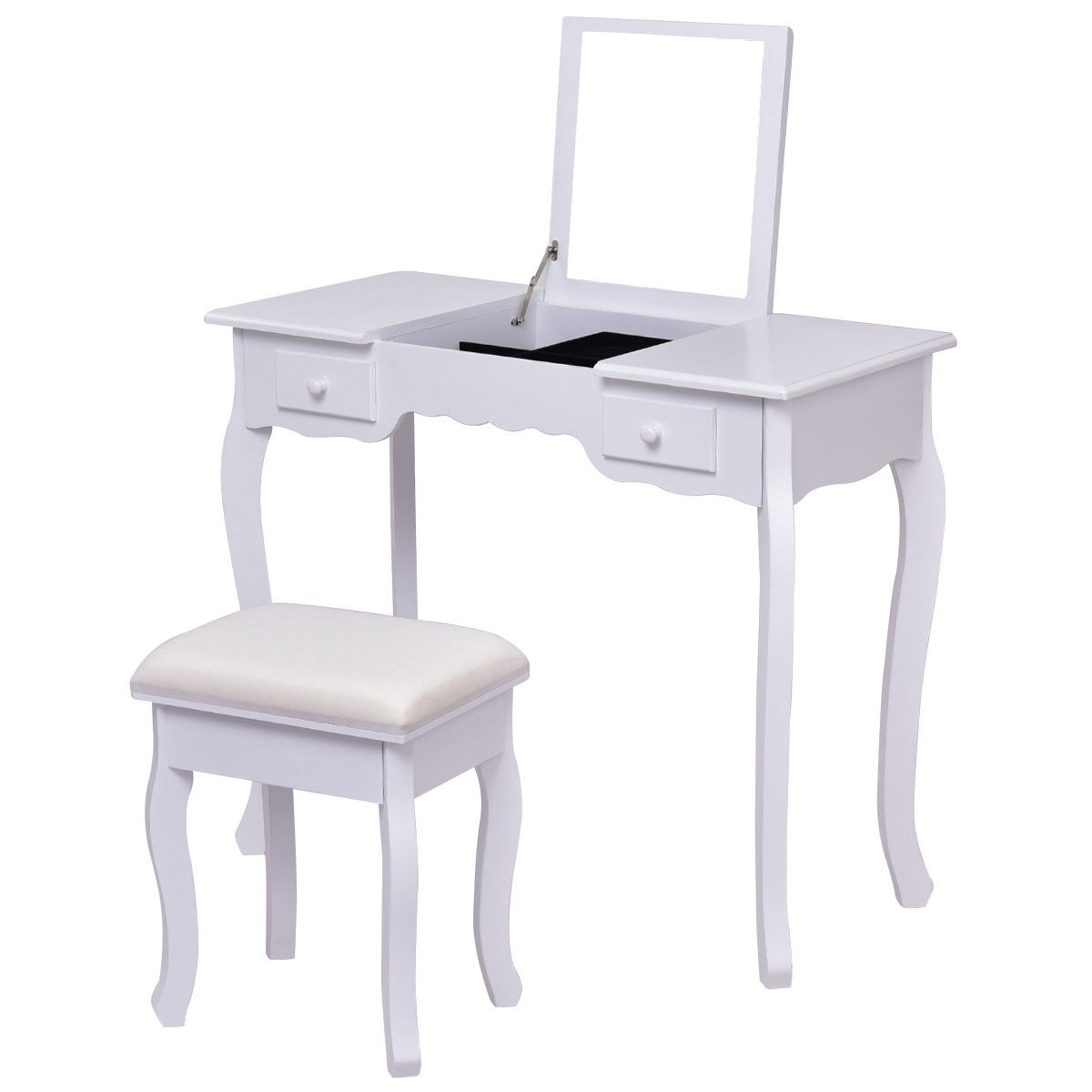 Mirrored Bathroom Dressing Vanity Table Set w/ Stool