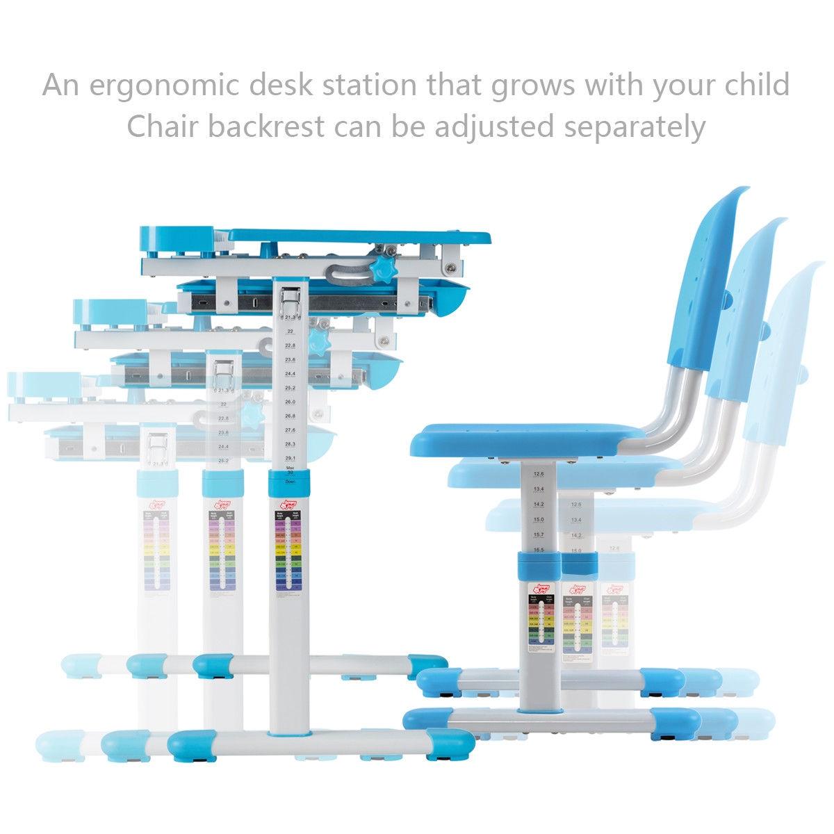 Multifunctional Height Adjustable Children's Desk Chair Set-Blue