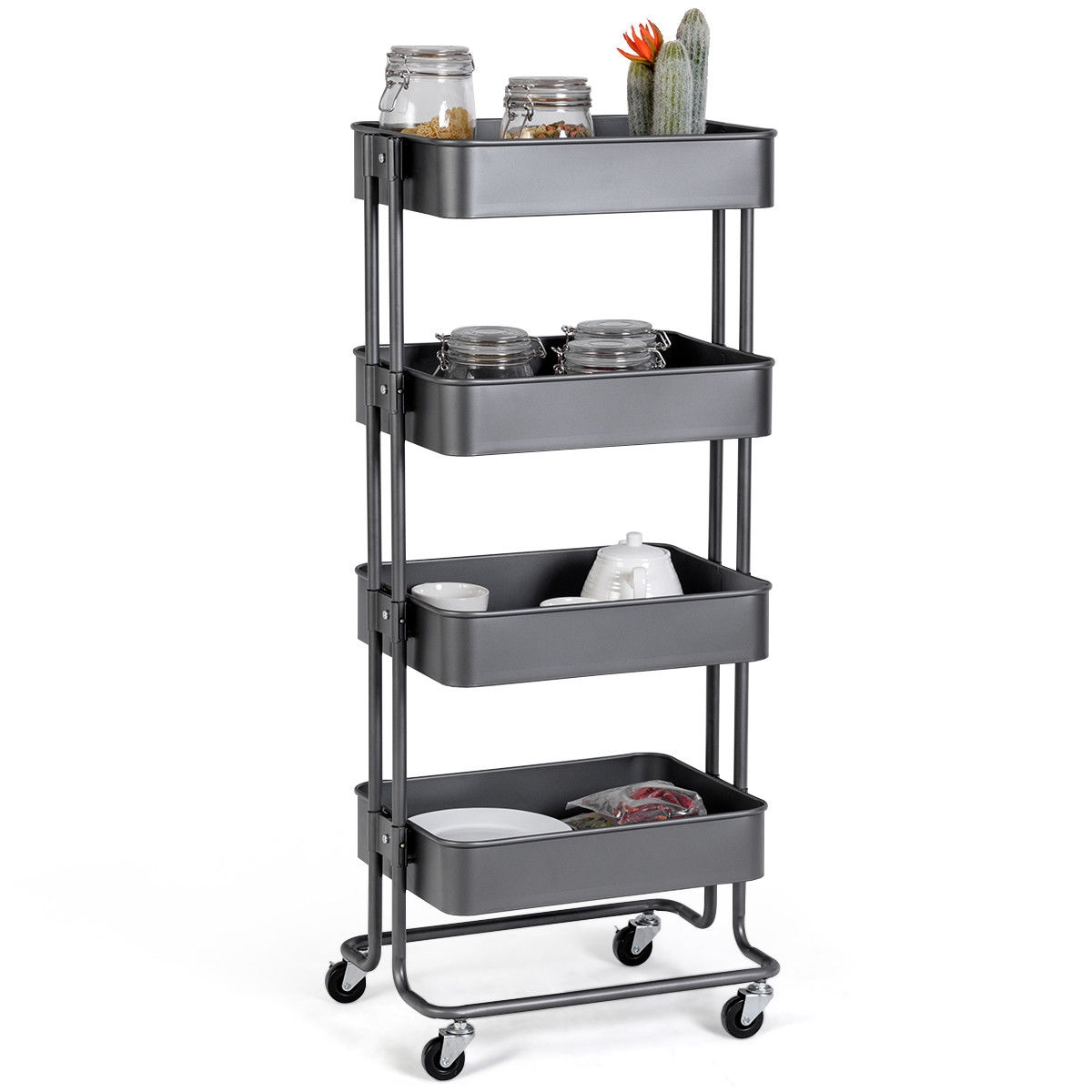 4 Tier Metal Rolling Utility Storage Cart