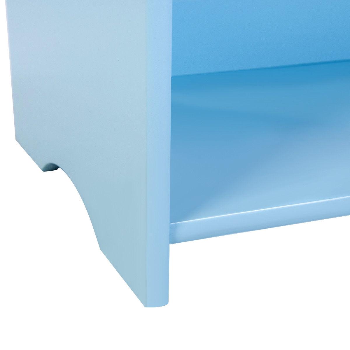 3-Tier Kids Bookshelf Magazine Storage Bookcase -Blue