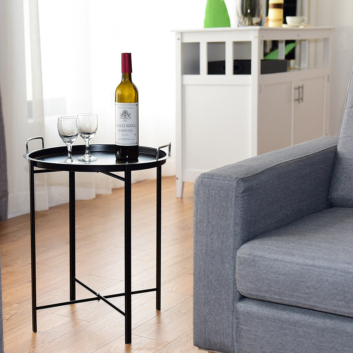 Metal Tray Round End Table Living Room Sofa Side Table