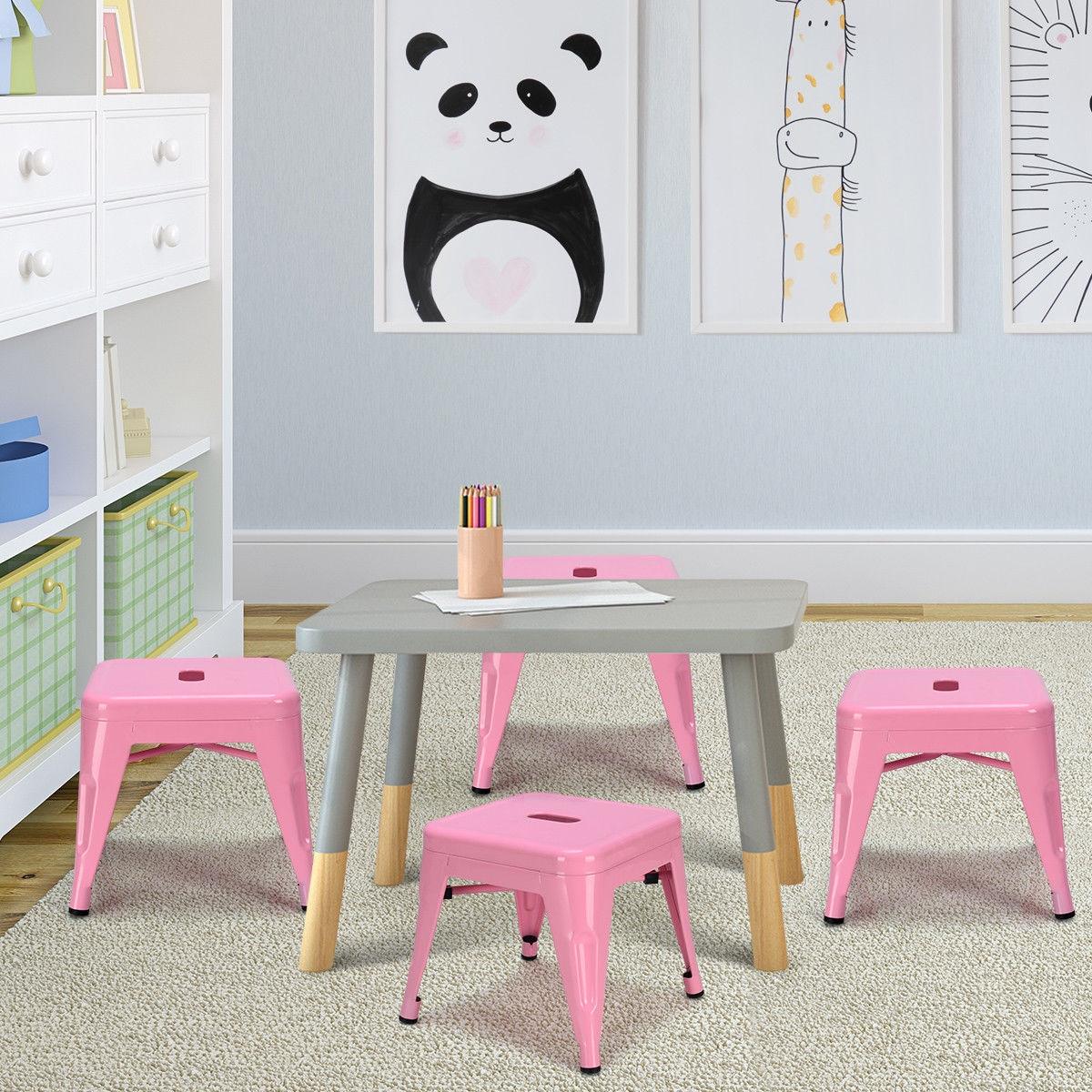 Set of 4 Lightweight  Stackable Metal Tolix Kids Stools-Pink
