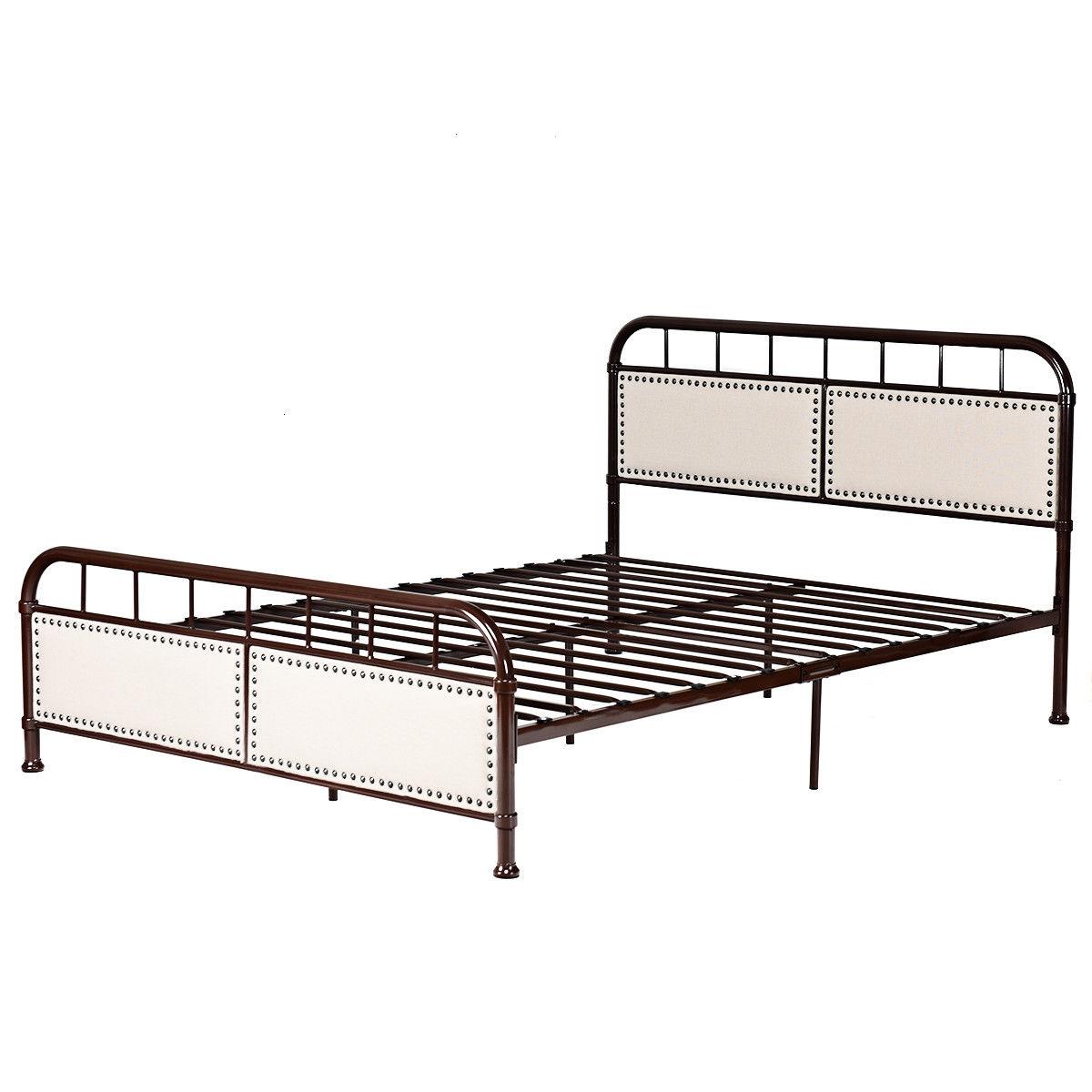 Queen size Metal Bed Frame Platform Bed Upholstered Panel Headboard Footboard
