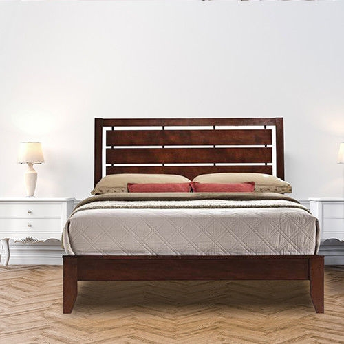 Home Furniture Bed Frame with Platform Wood Slats Tall Headboard