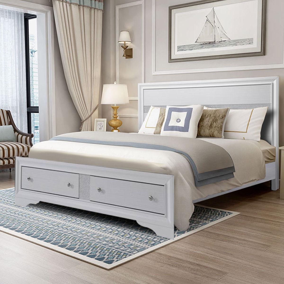 King Size Bed Frame Platform Wood Slats Tall Headboard Drawer Home Furniture -King Size