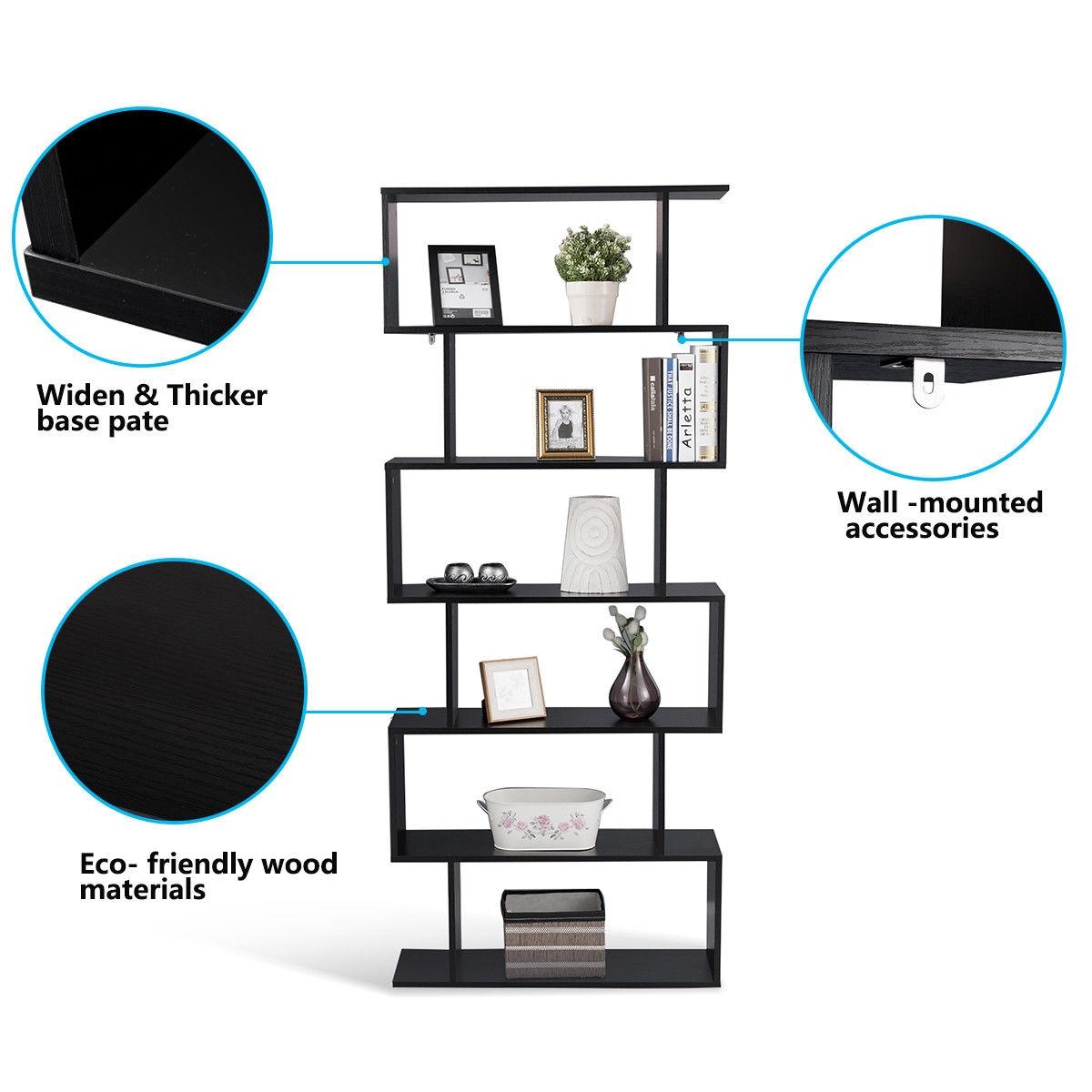6-Tier S-Shaped Bookcase Z-Shelf Style Storage Bookshelf