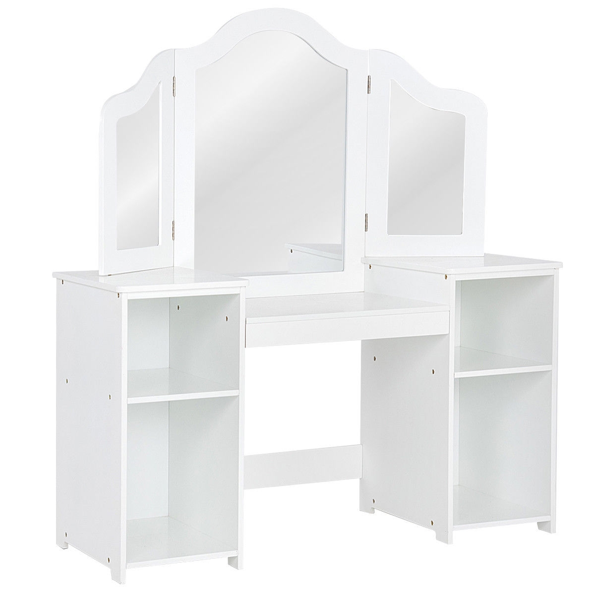 Kids Tri Folding Mirror Makeup Dressing Vanity Table Set-White