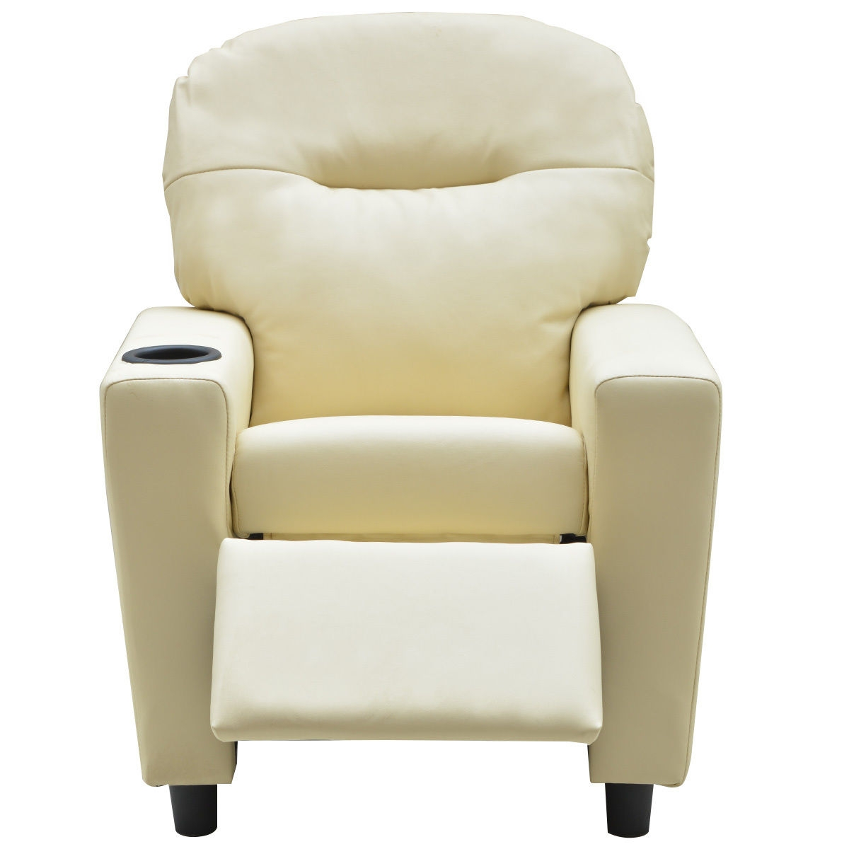 Kids Sofa Manual Recliner PU Ergonomic Lounge Chair-Beige