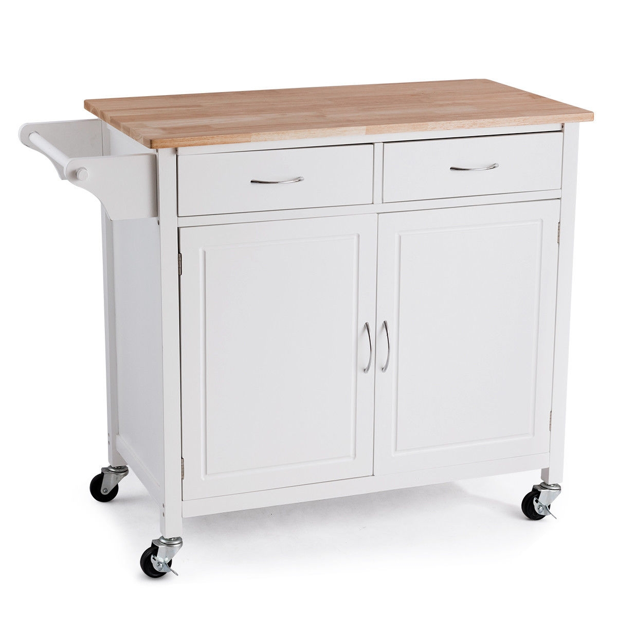 Modern Rolling Kitchen Cart Island with Wooden Top