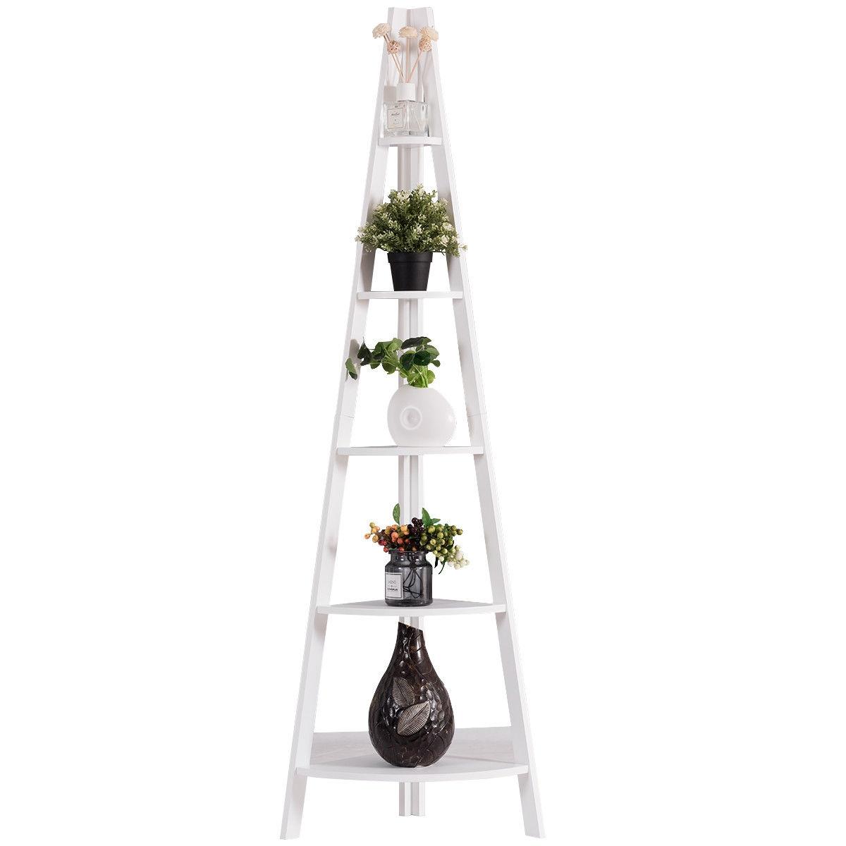5 Tier Floor Corner Stand Ladder Shelves Bookshelf