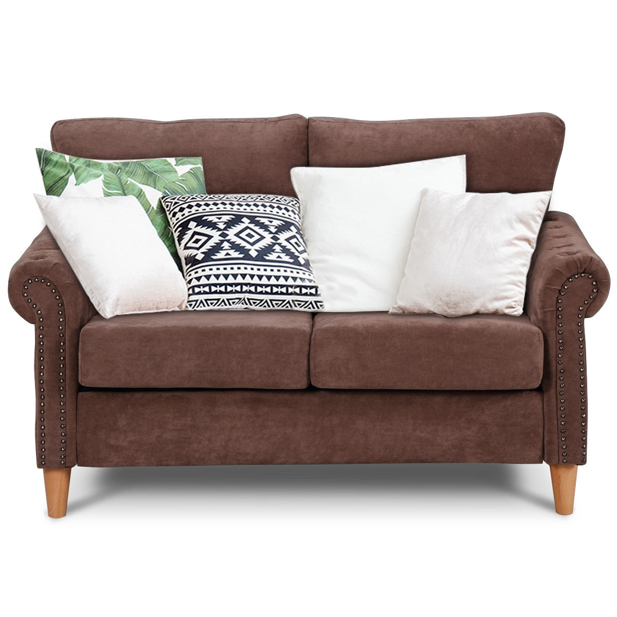 Modern Upholstered 2-Seater Nailhead Linen Fabric Sofa-Brown