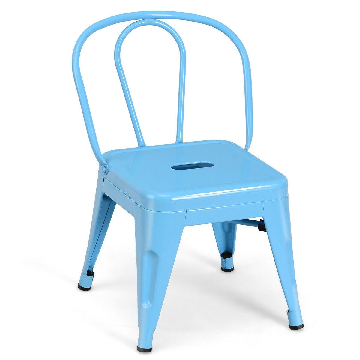 Tolix Kids Stool Metal Chair Stackable Toddler Children Lightweight Blue New