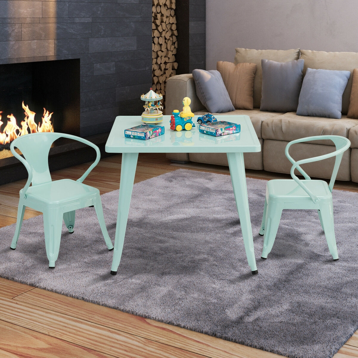 27'' Kids Square Steel Table Play Learn Activity Table
