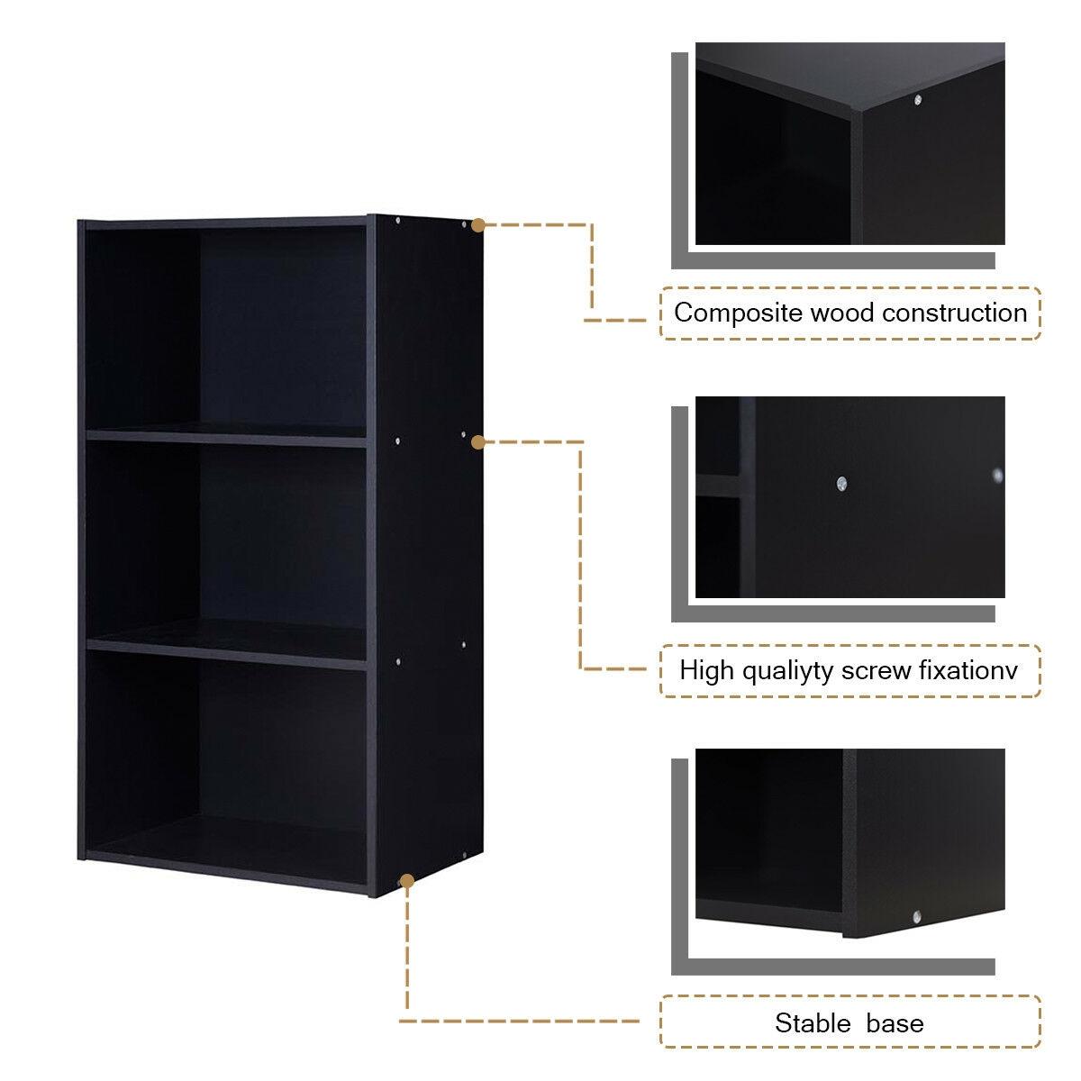 3 Open Shelf Bookcase Modern Storage Display Cabinet