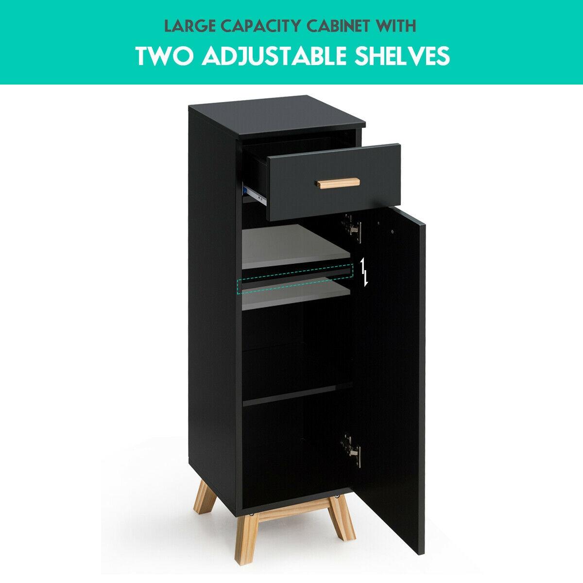 Waterproof Bathroom Cabinet with Adjustable Shelves and Sliding Drawer