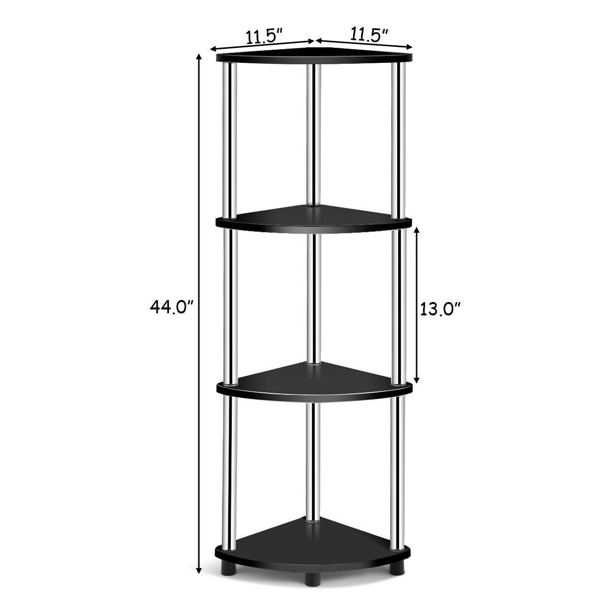 4-Tier Light Duty Living Room Display Stand Corner Shelf
