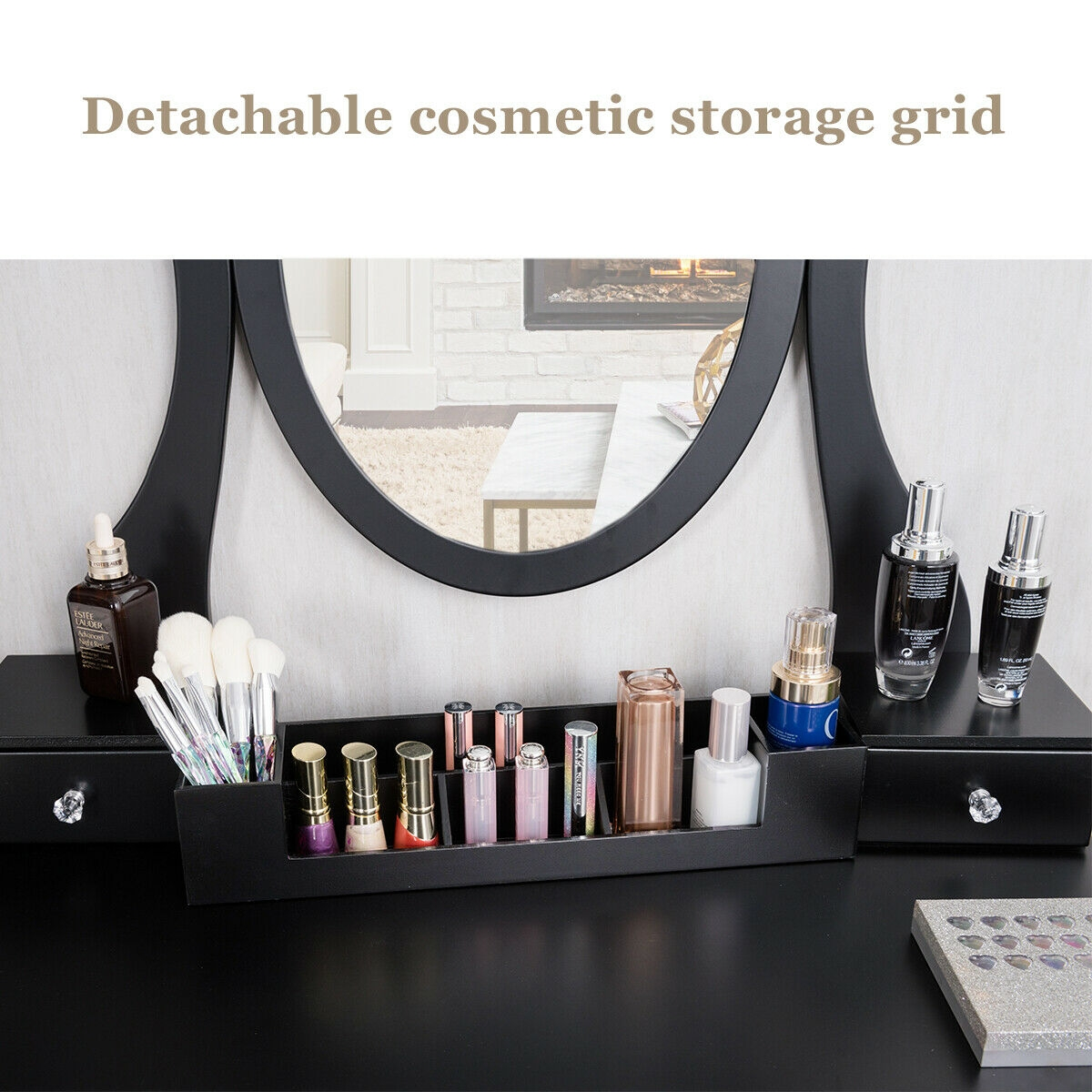 Vanity Set of Mirror Drawers Storage Box Table