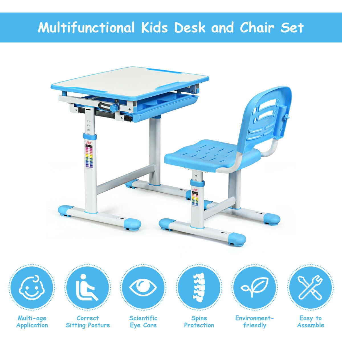 Adjustable Children Multifunctional Study Drawing Desk Chair Set