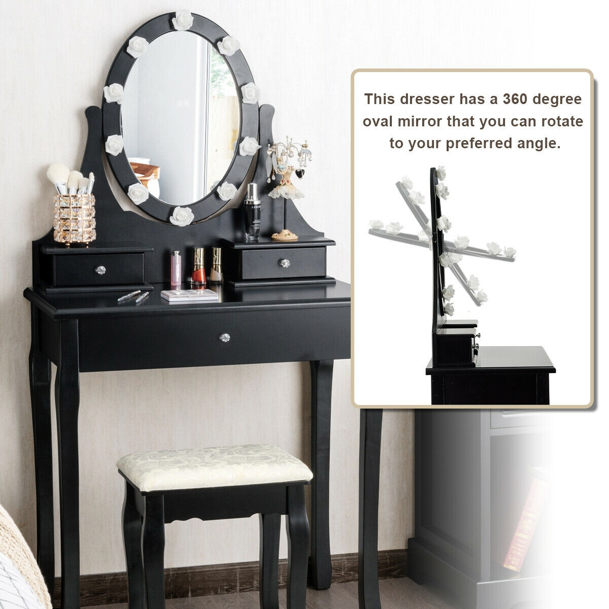 3 Drawers Lighted Mirror Vanity Makeup Dressing Table Stool Set