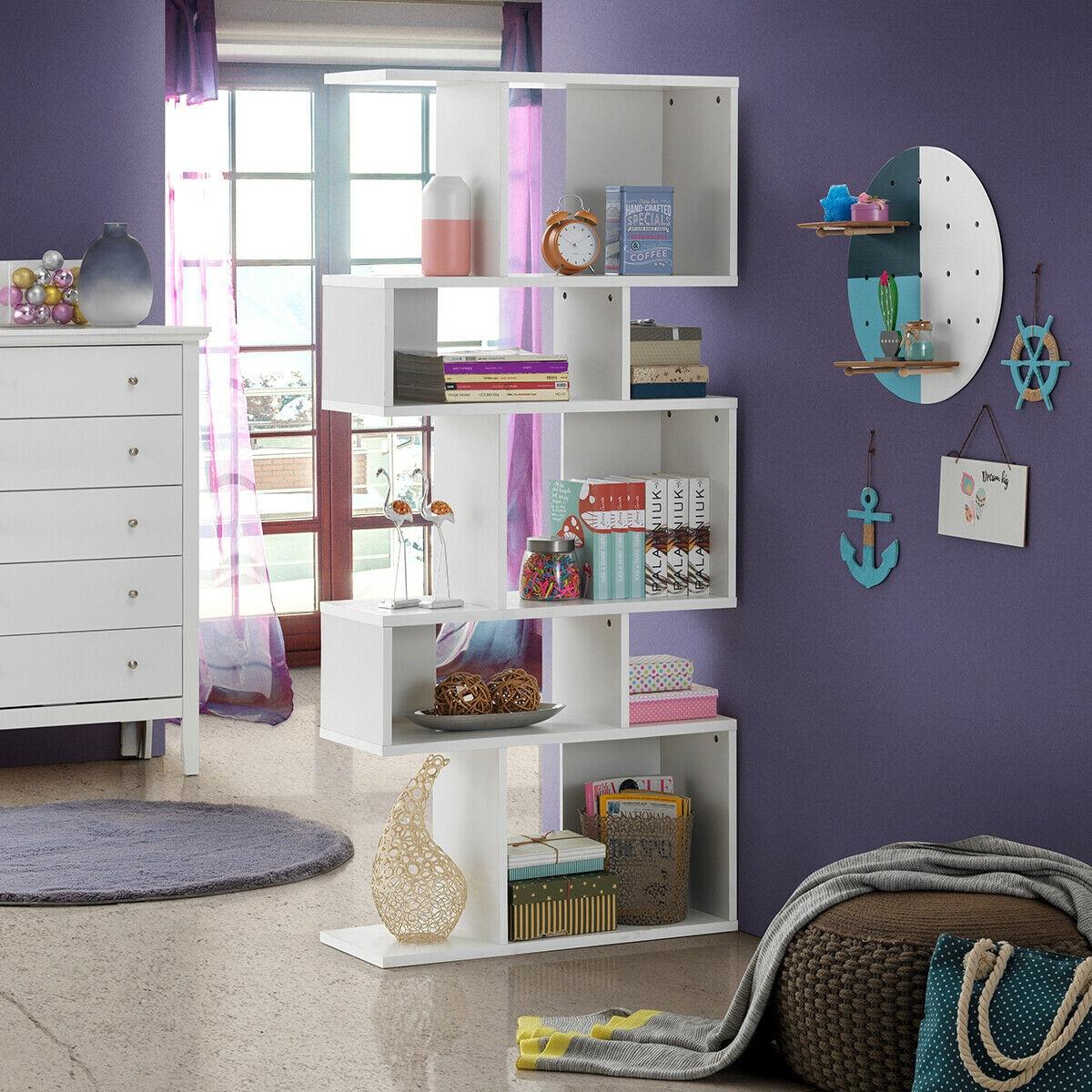 5 Cubes Ladder Shelf Corner Bookshelf Display Rack Bookcase