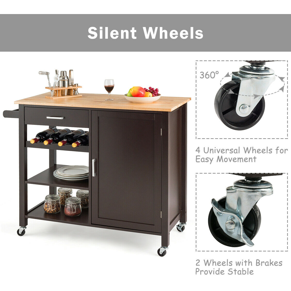 Giantex Kitchen Island Cart Rolling Serving Cart Wood Trolley-Brown