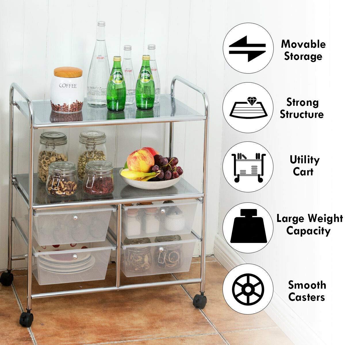 4 Drawers Rolling Storage Cart